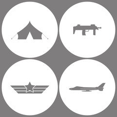 Vector Illustration Set Office Army Icons. Elements of Barracks, military tent, Submachine, Aviation wings and aircraft jet icon