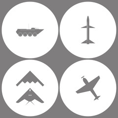 Vector Illustration Set Office Army Icons. Elements of Armored vehicle, Missile, stealth, bomber and Airplane with screw,plane silhouette icon