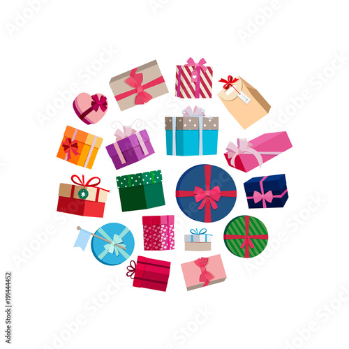 Vector gift packages and boxes with colorful wrapping round vector gift packages and boxes with colorful wrapping round illustration negle Choice Image