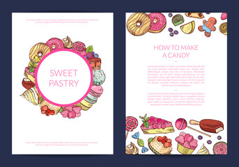 Vector hand drawn sweets, pastry shop