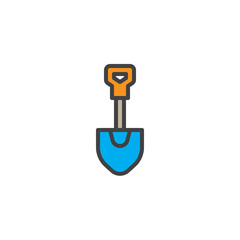 Firefighter shovel filled outline icon, line vector sign, linear colorful pictogram isolated on white. Symbol, logo illustration. Pixel perfect vector graphics