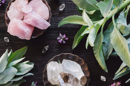 Quartz and Rose Quartz  Crystals and Sage