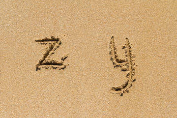 Lower Case Letters of Alphabet on Sand