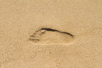Sign of Foot Print Shape on Sand