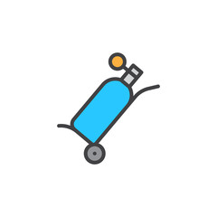 Oxygen tank filled outline icon, line vector sign, linear colorful pictogram isolated on white. Symbol, logo illustration. Pixel perfect vector graphics