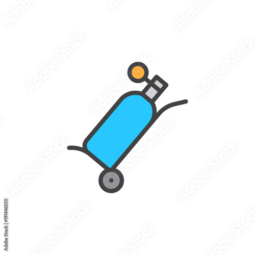 Oxygen Tank Filled Outline Icon Line Vector Sign Linear Colorful