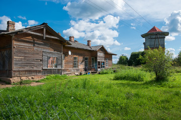 Old station buildings at the Palace station, Novgorod, Russia