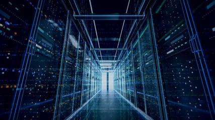 Server room or server computers.3d rendering.