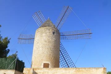 Molino de viento de Felanich o Felanitx,ciudad de Mallorca en la Islas Baleares, España,en la comarca del Migjorn con Santanyí, Campos, Porreras, Villafranca de Bonany y Manacor