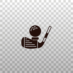 Golf club with ball - black silhouette, icon, sign, symbol, image, illustration on isolated transparent background.