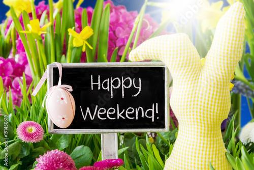 Spring Flowers Easter Decoration Happy Weekend Stockfotos Und