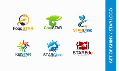Food Star logo, Chef Star logo designs, Star Drink, Kids logo, Cleaning logo, Star Education logo template vector
