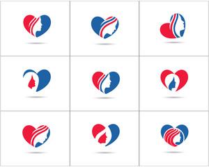 Spa and salon logo design set, Beauty lady in heart shape vector icons, cosmetics and makeup artist symbol, beauty salon shop logos illustration.