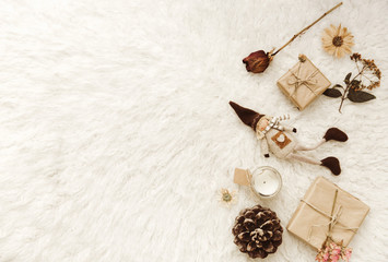 Neutral Styled  Scenes for Designers, Bloggers with  gift box and decorations