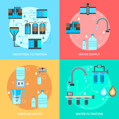 Water Cleaning Flat Design Concept
