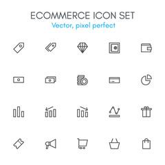 Ecommerce theme, line icon set.