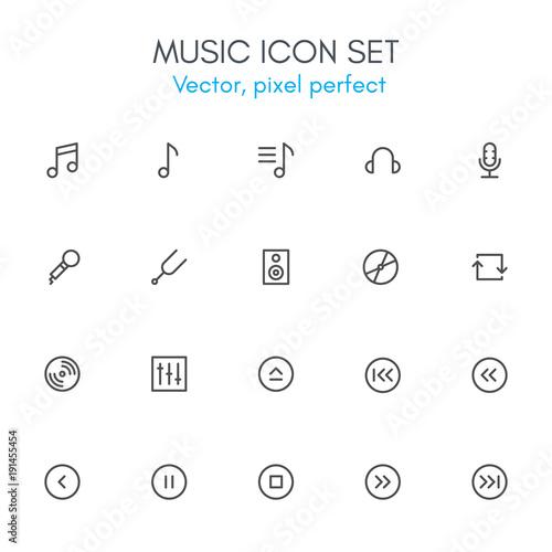 Music theme, line icon set