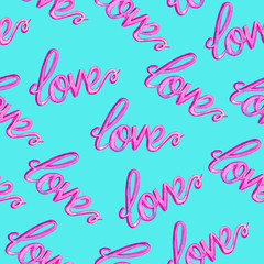 Love colorful typography seamless pink pattern,  hand painted watercolor illustration on bright blue background
