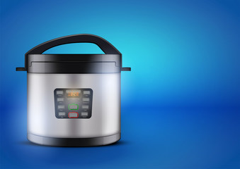 Original Electric pressure cooker or multicooker on blue background. Domestic Kitchen appliances and supplies. Vector Illustration isolated on white background.