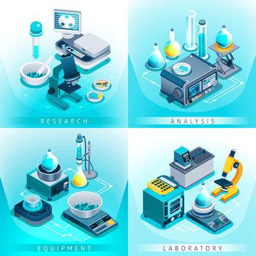 Laboratory Equipment Isometric Design Concept