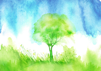 Watercolor summer landscape. Green, blue tree on a bright grass. Blue sky, clouds, rain. On a white background. A summer tree. Watercolor picture, logo, postcard