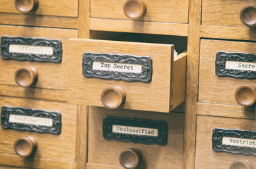 Old wooden archive files catalog drawer,  files
