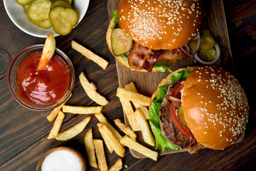Burger and french fries, top view