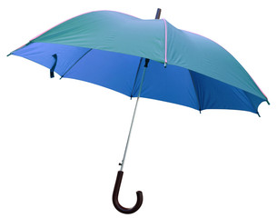parapluie bleu, fond blanc