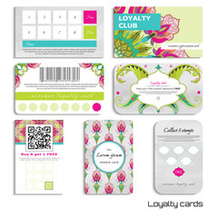Set of loyalty cards. Oriental pattern and beautiful fantastic flower. Watercolor background. Hand drawing. Realistic shadows. Place for your text.