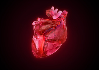 Anatomical human heart as gemstone,