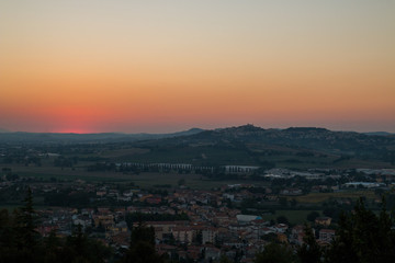 Tramonto dalle colline di Loreto, Ancona, Marche, Italia