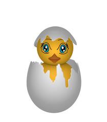 Küken, in einer Eierschale mit Augen im Manga Stil. Auf weiß isoliert, 3d render
