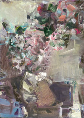 still life with flowers in a paper bag