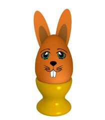 orangefarbenes Osterei  mit Hasengesicht und Hasenohren im Eierbecher . 3d render