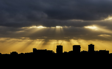 Silhouette of a city skyline at sunset, Sydney, New South Wales, Australia