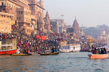 Varanasi Ghats, Diwali Festival, Ganges River and Boats, Uttar Pradesh, India  Wall mural