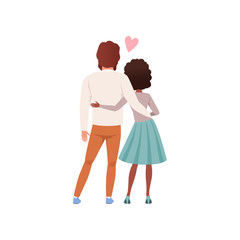 Young man and woman characters standing embracing back view, happy romantic couple in love cartoon vector Illustration