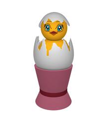 Küken, in einer Eierschale mit Augen im Manga Stil in einem rosafarbigen Eierbecher. Auf weiß isoliert, 3d render