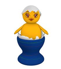 Küken, dass in einer Eierschale sitzt mit Augen im Manga Stil. auf weiß isoliert,  3d render
