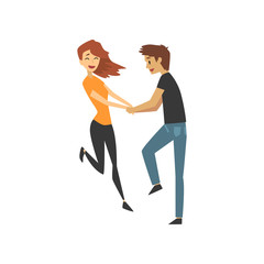 Young man and woman characters dancing, happy romantic couple in love cartoon vector Illustration