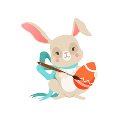 Cute cartoon bunny with blue bow with egg, funny rabbit character, Happy Easter concept cartoon vector Illustration