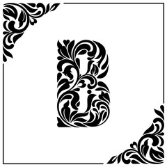 The letter B. Decorative Font with swirls and floral elements. Vintage style