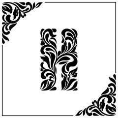 The letter H. Decorative Font with swirls and floral elements. Vintage style