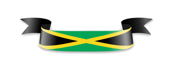 Jamaica flag in the form of wave ribbon.