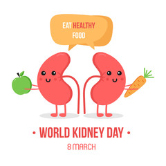 Vector illustration for world kidney day with couple of kidneys characters, giving advice to eat healthy food, vegetables.