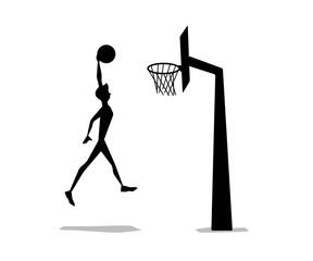 basket ball man shooting silhouette cartoon design