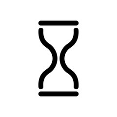 Hourglass icon. Symbol of time, history and waiting. Outline modern design element. Simple black flat vector sign with rounded corners.