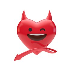 Red devil emoji emoticon character heart. 3D Rendering