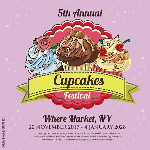 cupcakes festival poster template