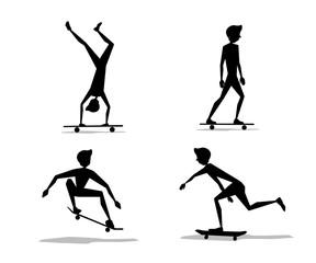 skateboard player set silhouette cartoon